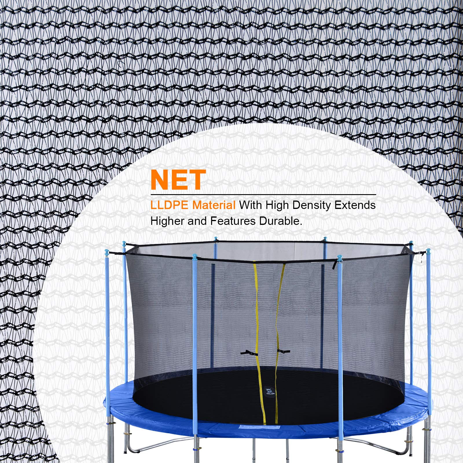 Exacme Inner Enclosure Safety Mesh Net with 6 Poles for C-Series 12 FT Trampoline 6181 by Exacme (Image #3)