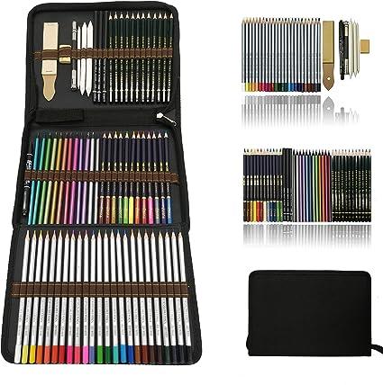 Custodia Kit da Disegno 60 Matite per colorare 11 accessori per Disegno