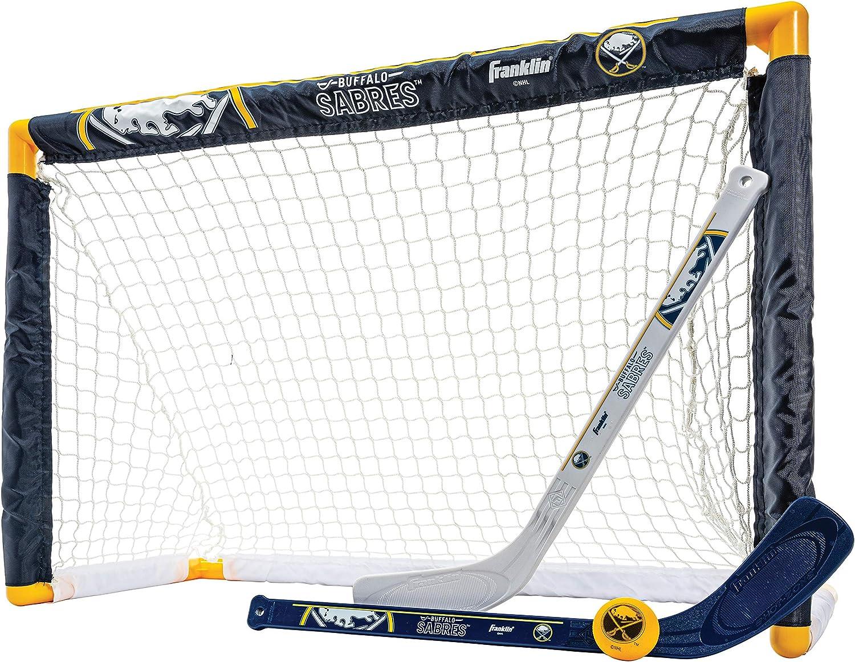 Franklin Sports Buffalo Sabres Mini Hockey Set - Knee Hockey Goal, Ball, & 2 Hockey Stick Combo Set - Mini Goal Net - NHL Official Hockey Set : Hockey Nets : Sports & Outdoors