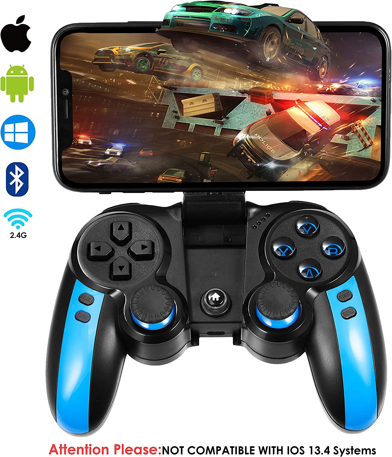 Amazon Com Modeslab Wireless Bluetooth Gamepad Mobile Game Controller Joystick Video Games Controller Compatible With Ios Android Iphone Tablet Pc Tv Box Perfect For The Most Games