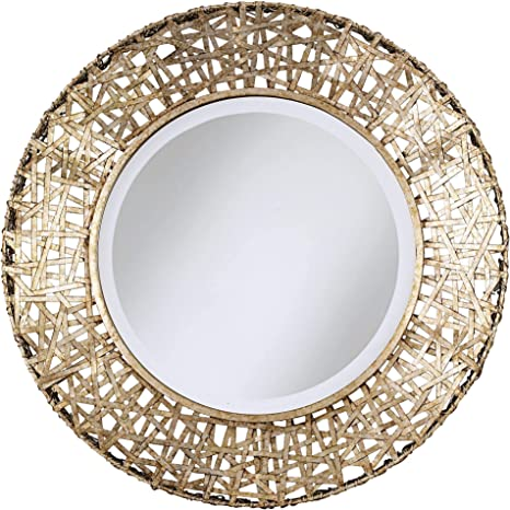 Amazon Com Uttermost Alita Champagne Woven Metal 32 Round Wall Mirror Home Kitchen