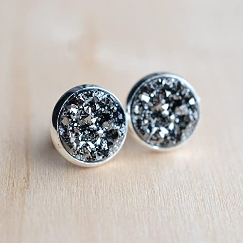 earrings by small druzy binoli studs moran titanium tiny in round classic stud titn circle marcia products