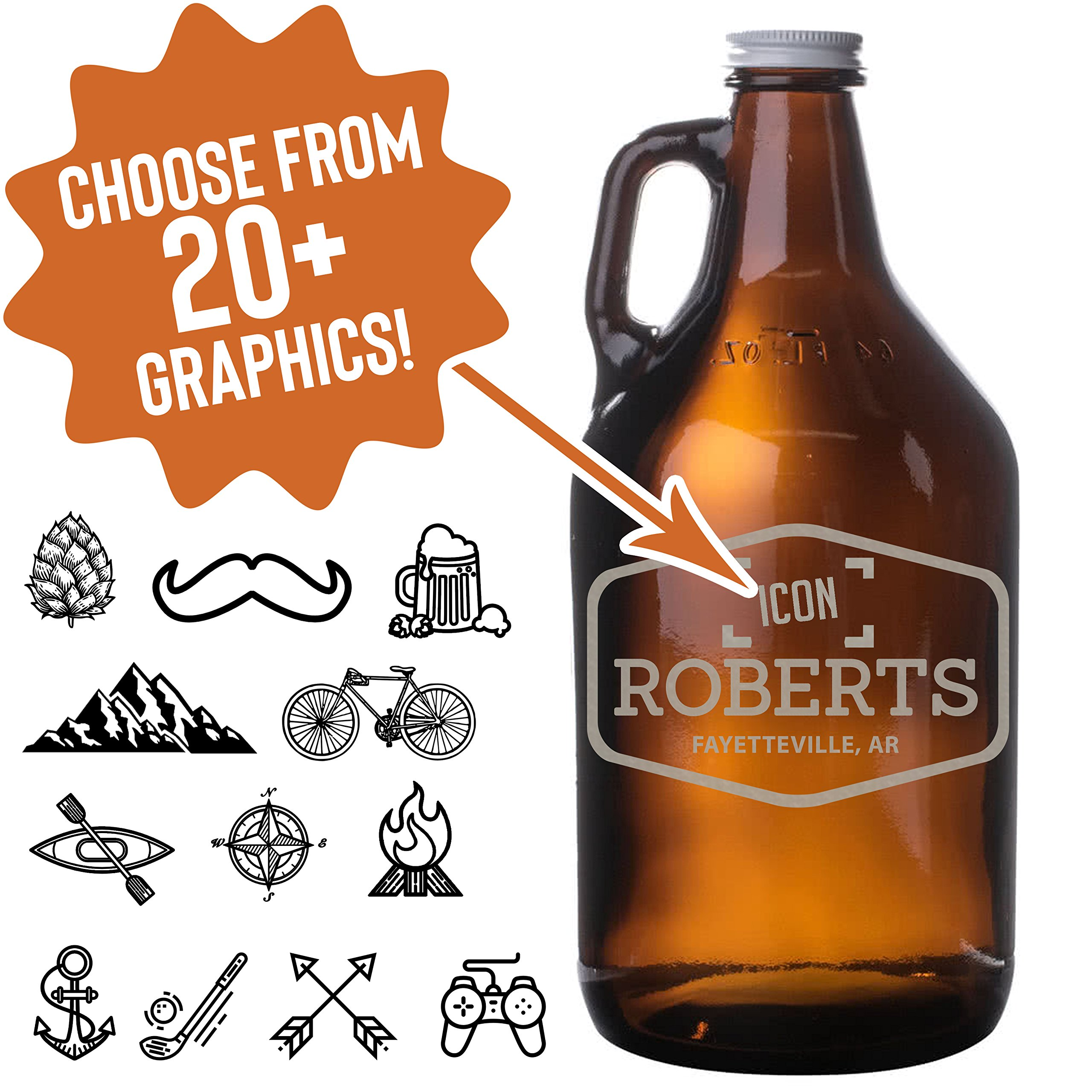 Pick Your Design Personalized Etched 64oz Amber Beer Growler