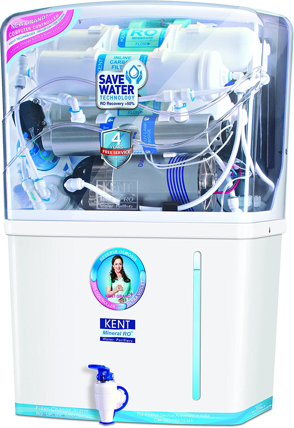 Kent Grand Plus 8-Litre Mineral RO + UV/UF with TDS Controller Water ...