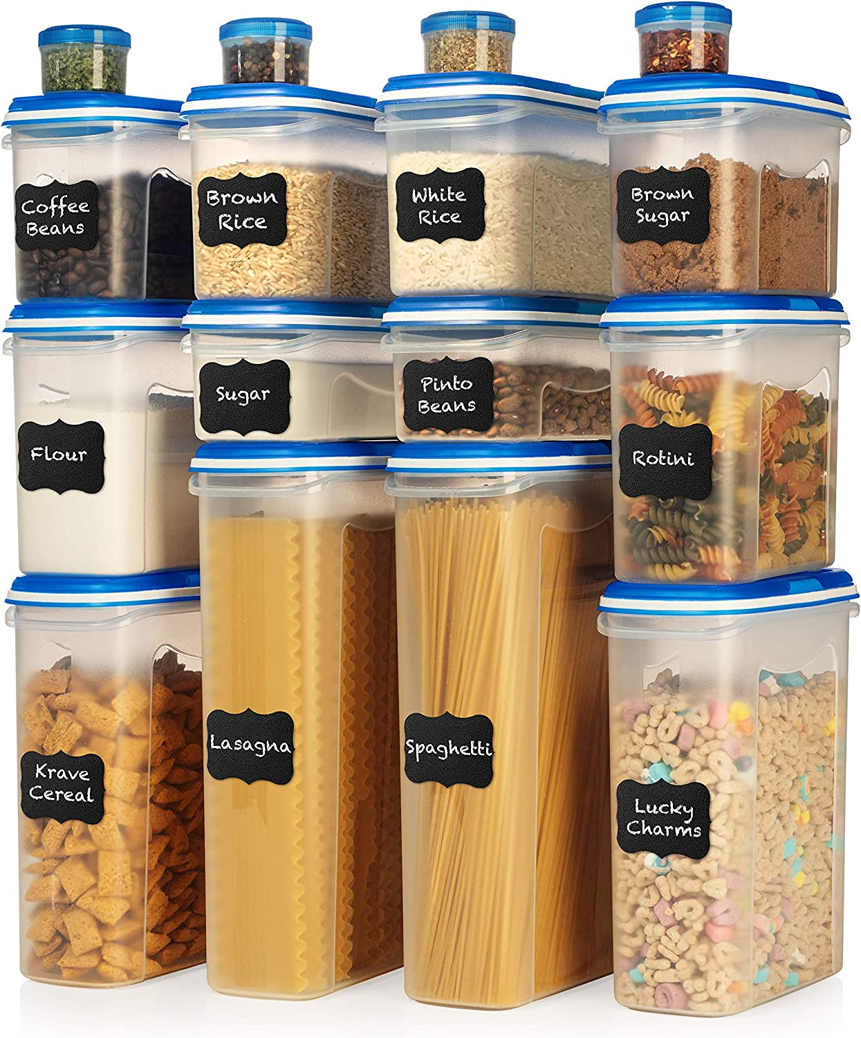 LARGE SET 32 pc Airtight Food Storage Containers with Lids (16 Container Set) Airtight Plastic Dry Food Space Saver Boxes, One Lid Fits All - Stackable Freezer Refrigerator kitchen Storage Containers