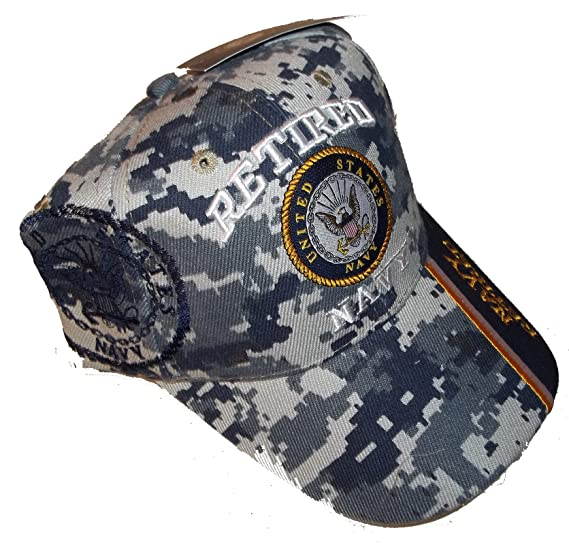 33448c1f20926 Image Unavailable. Image not available for. Color  USA Retired Navy  Baseball Style Embroidered Hat Blue Camo Cap Vet Us Veteran