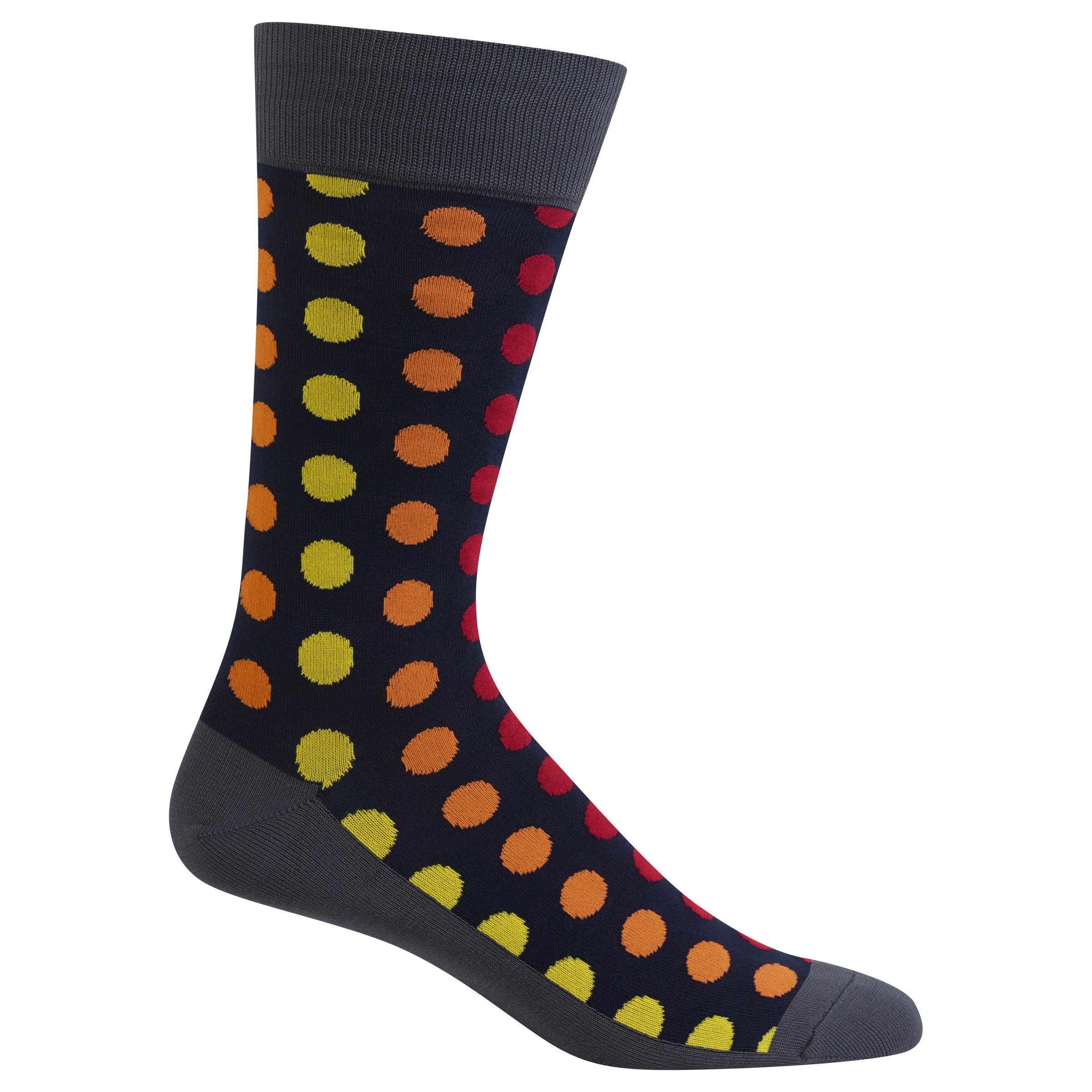 Hot Sox Mens Slack Crew, Ombre Dots Slack Char - Size: 10-13, Comes With a Helicase Brand Sock Ring