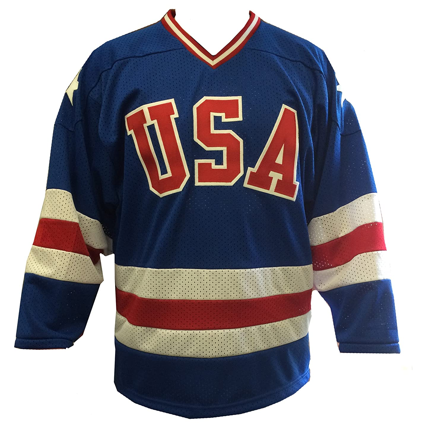 Blue Away 1980 USA Olympic Hockey Replica Game Mesh Jersey...