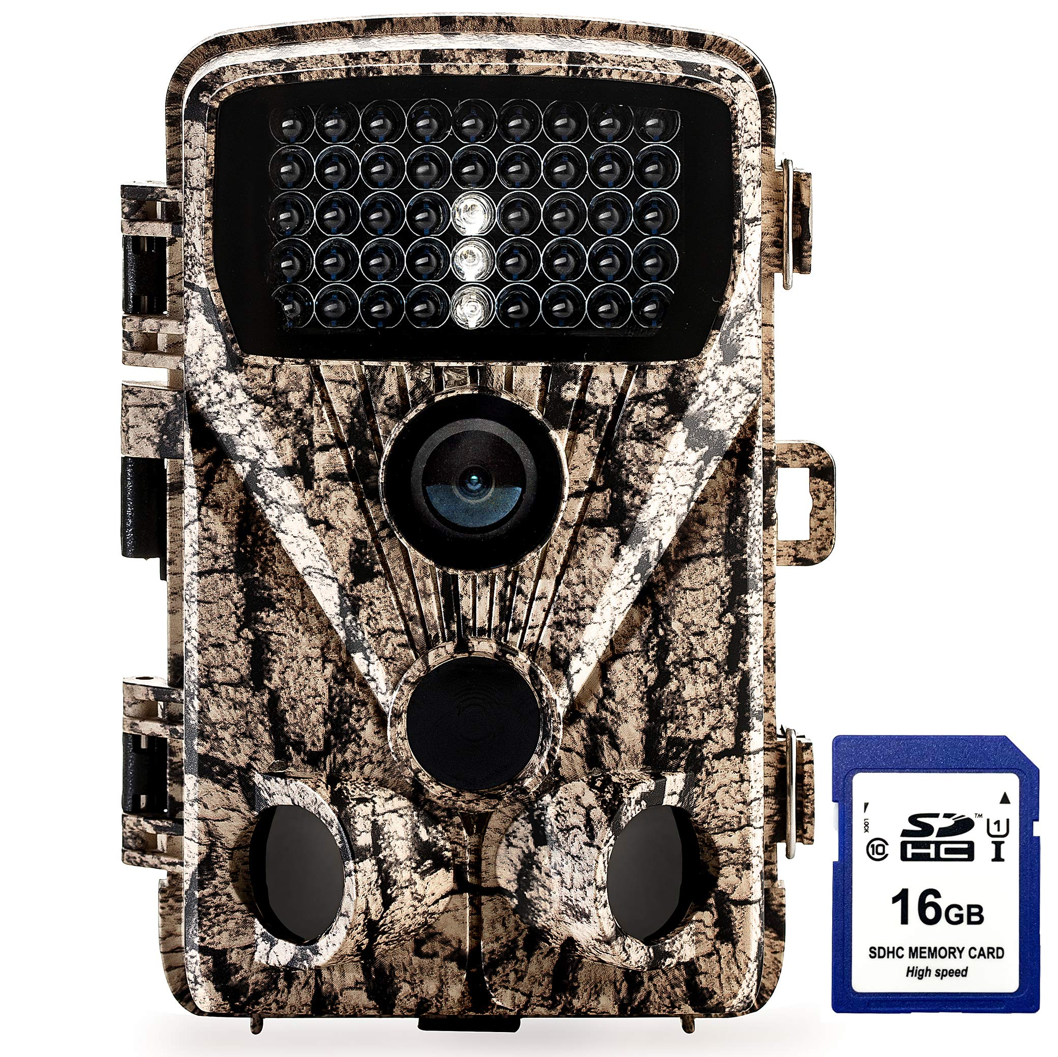 Foxelli Trail Camera - 20MP 1080P HD Wildlife Scouting Hunting Camera with Motion Activated Night Vision, 120° Wide Angle Lens, 42 IR LEDs & 2.4'' LCD screen, IP66 Waterproof Game Camera, SD card incl.