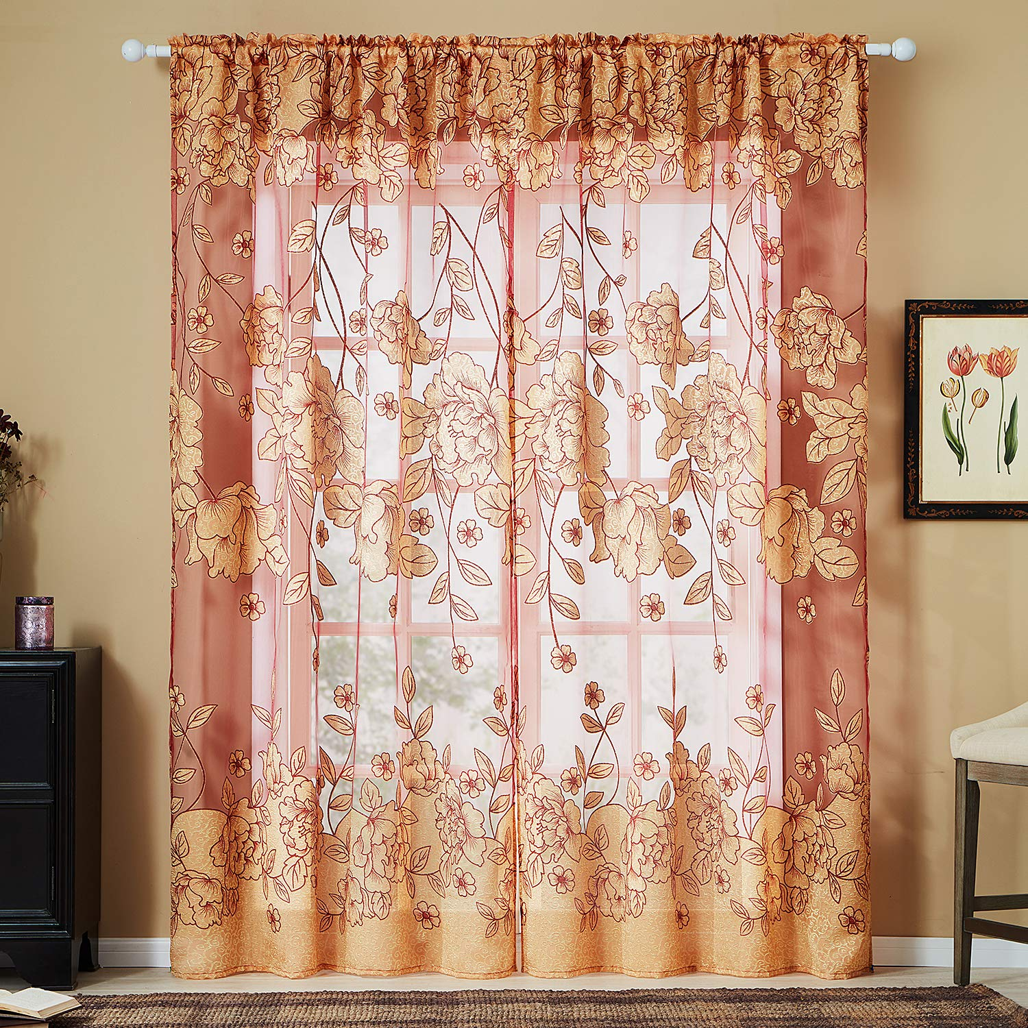Top Finel Grommet Kitchen Tier Valance 18 Inch Length Printed Butterfly Short Sheer Curtains for Cafe Bathroom Small Window 2 Panels