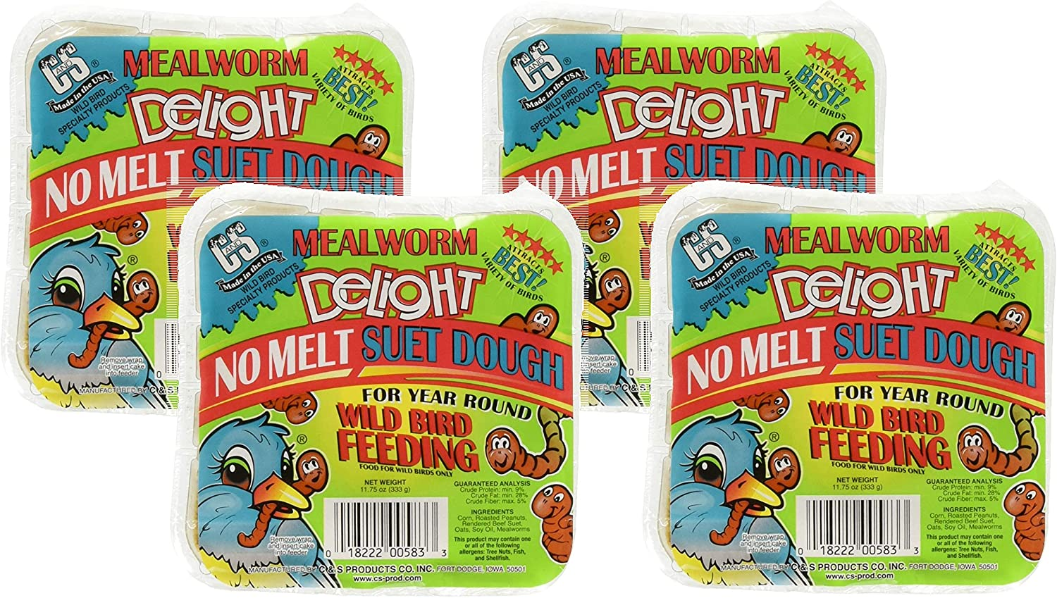 C&S Products 4 Pack of Mealworm Delight No Melt Suet Dough, 11.75 Ounces each