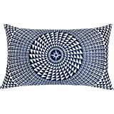 SLOW COW Velvet Print Decorative Lumbar Throw Pillow Cover Rectangle Cushion Cover Pillow Case 12 x 20 Inches Navy Blue