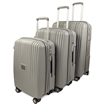 4b55c72ca Amazon.com   GoLuggage Modern Hard Suitcase Set - Higest Quality Large Carry  On Hard Travel Case With Wheels - Best Deal For The Best Quality (Grey) ...