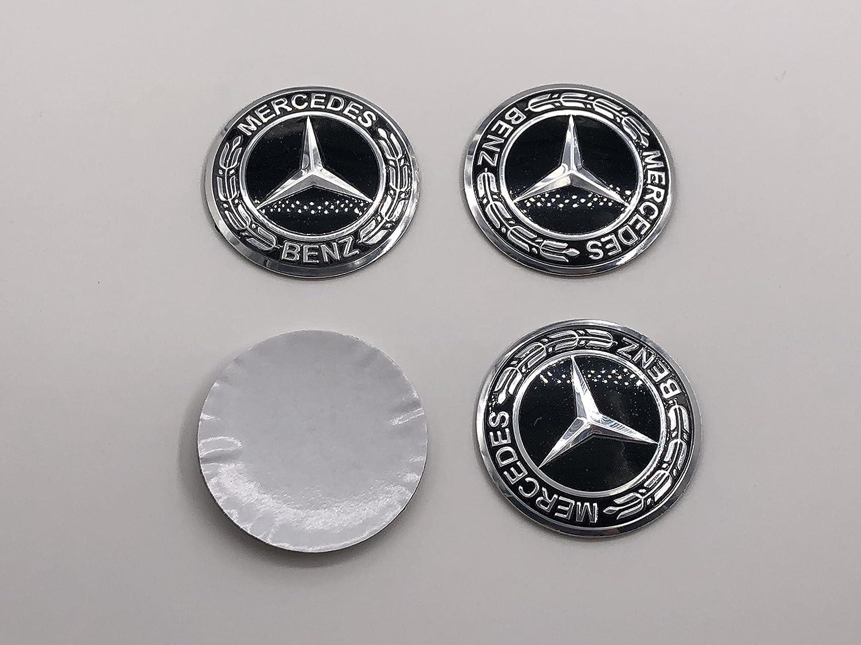 AOWIFT 3D Steering Wheel Badge Emblem Sticker for Mercedes-Benz New Logo Black 56mm
