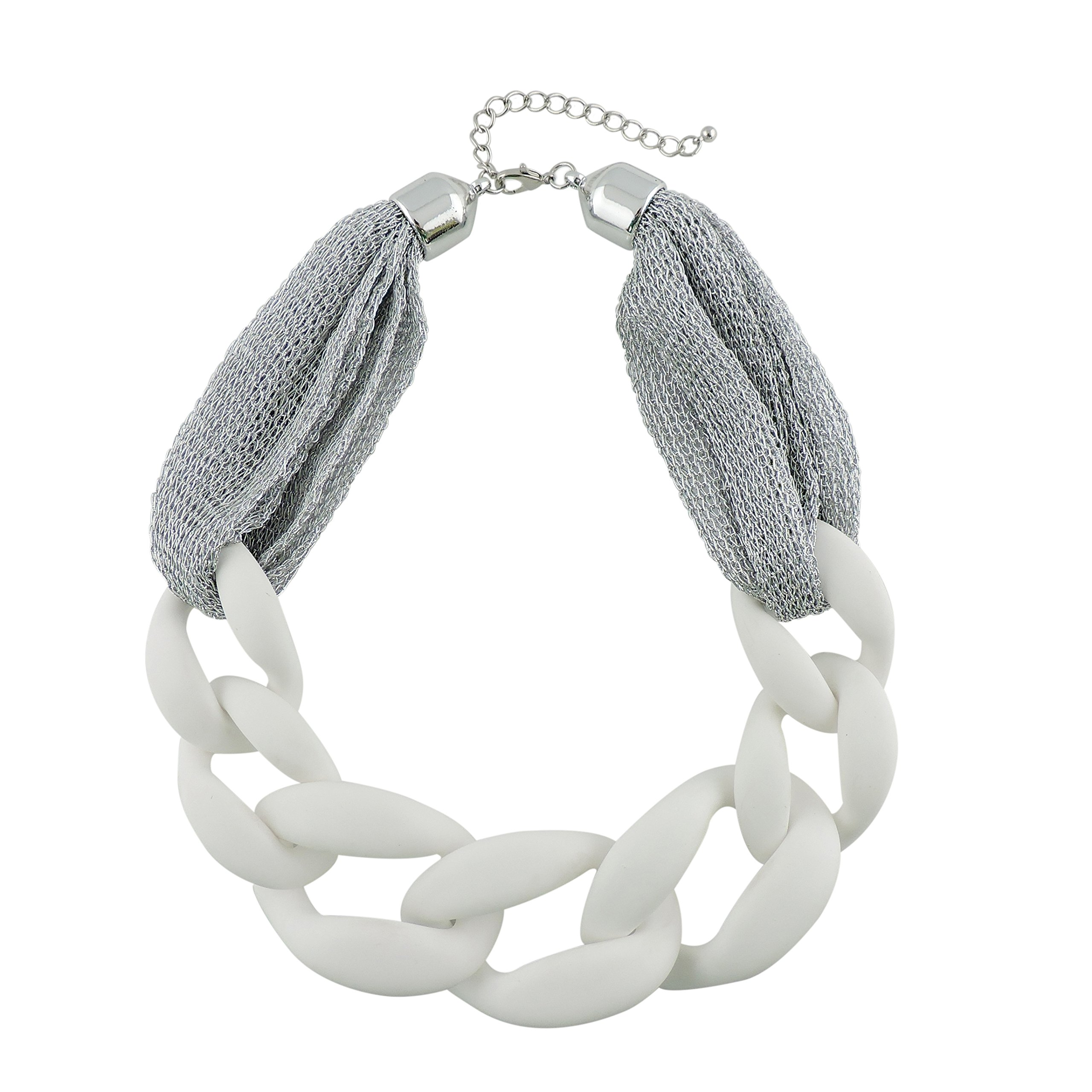BOCAR Statement Chunky Fashion Acrylic Paint Beads Choker Net Chain Necklace for Women Gifts (NK-10510-white)
