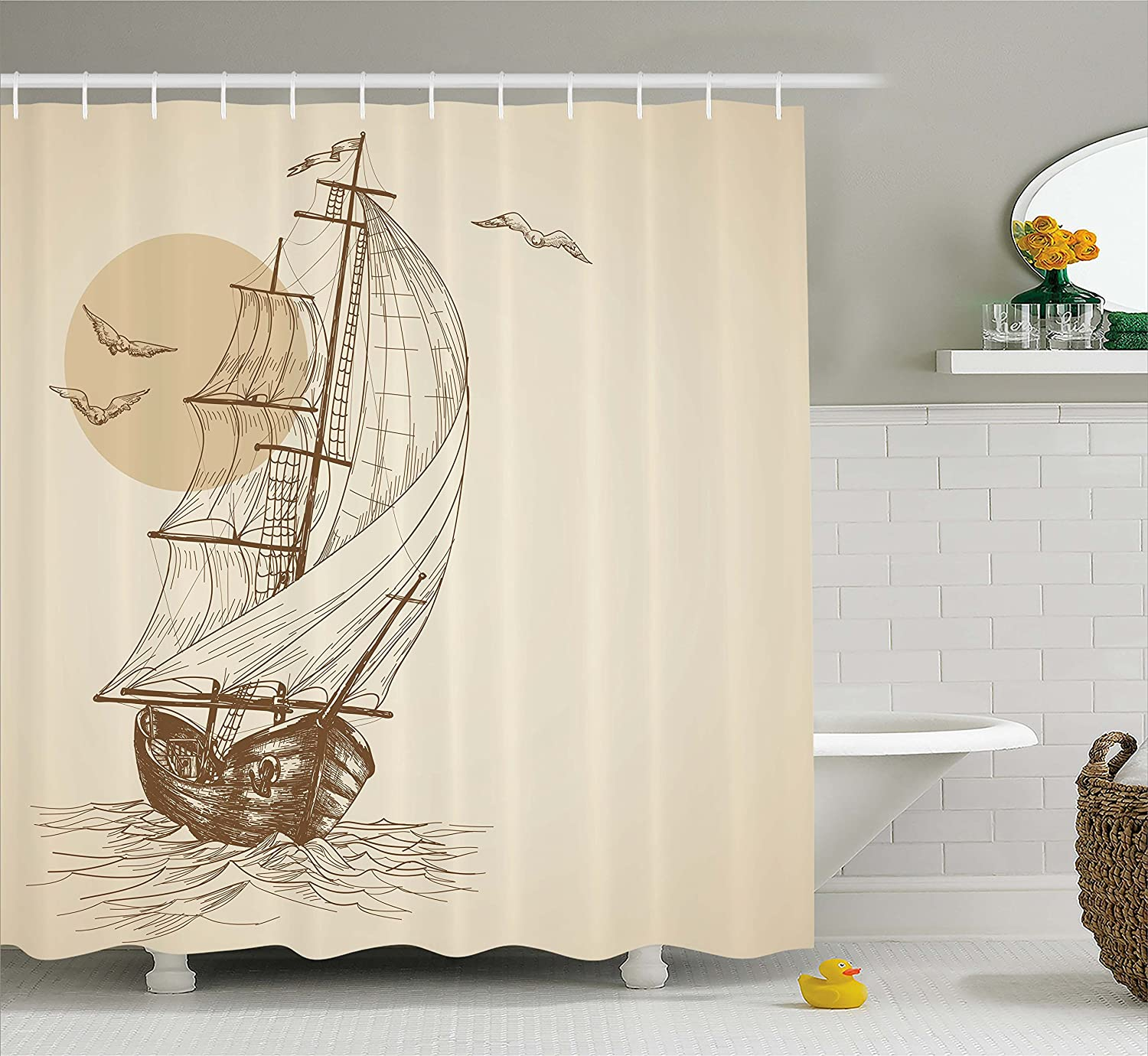 Old Wooden Sailboat on Waves Shower Curtain