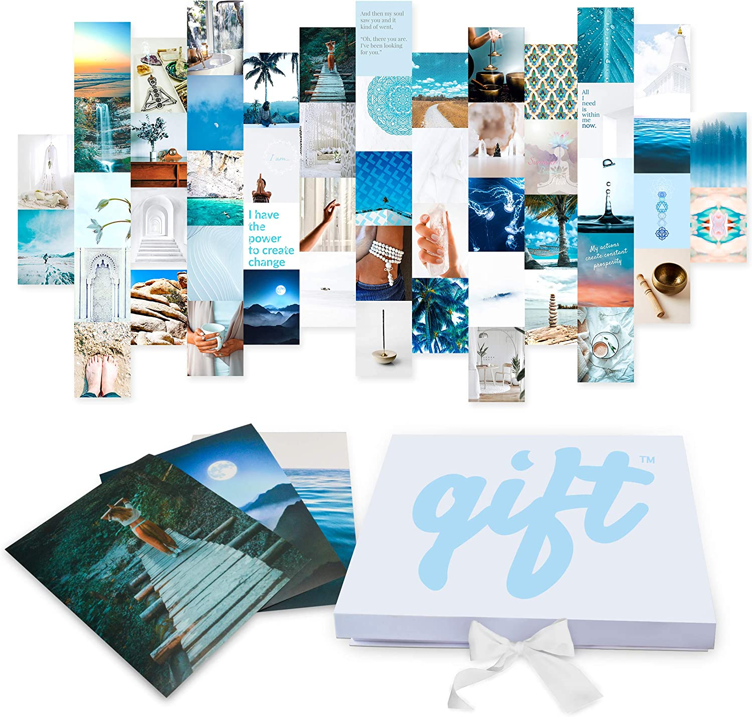 UNLIMITED Display Options | Blue & White Meditation Yoga Wall Decor Set | 53 LARGE Unframed Prints | Collage Kit for Bedroom Living Room Spa or Office | Inspirational Bohemian Pictures | Mindful Motivational Wall Art | Aesthetic Posters | Turquoise Teal & Navy Gifts for Women