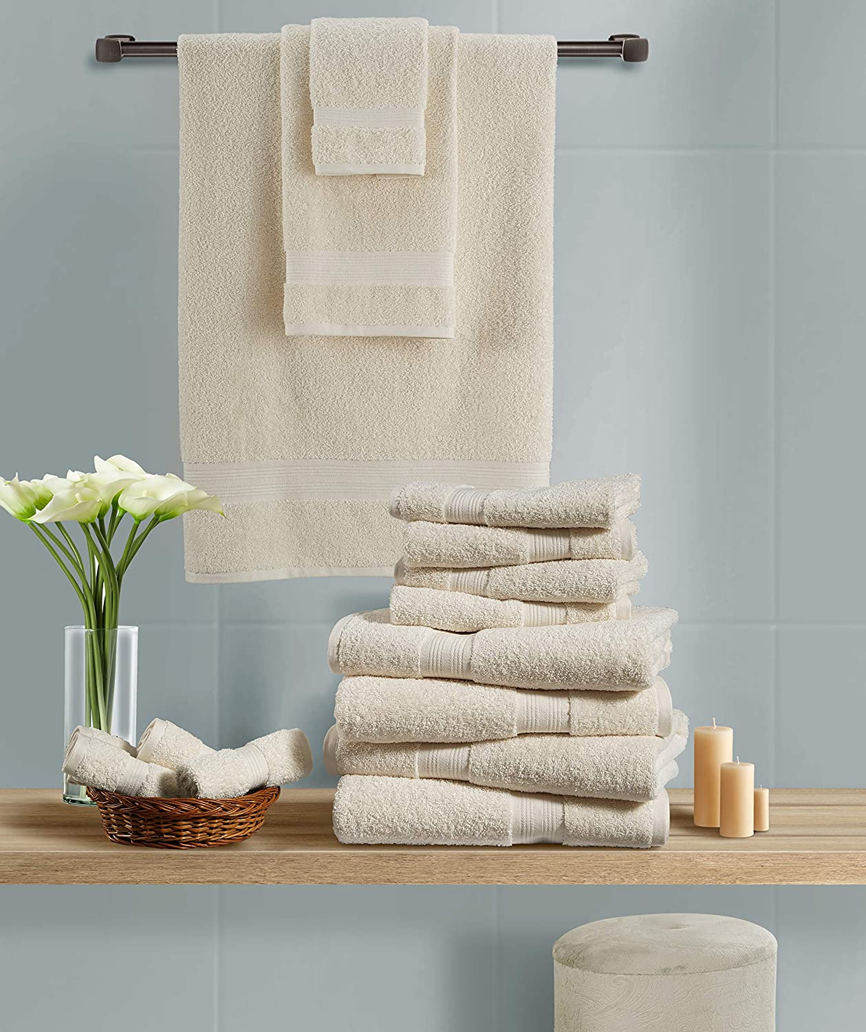 Cotton Cozy 100/% Cotton Indulgence 600 GSM Luxury Large Oversized Bath Towels Amercian Construction Soft Machine Washable 30 X 54 Inches Set of 4 Ivory Highly Absorbent