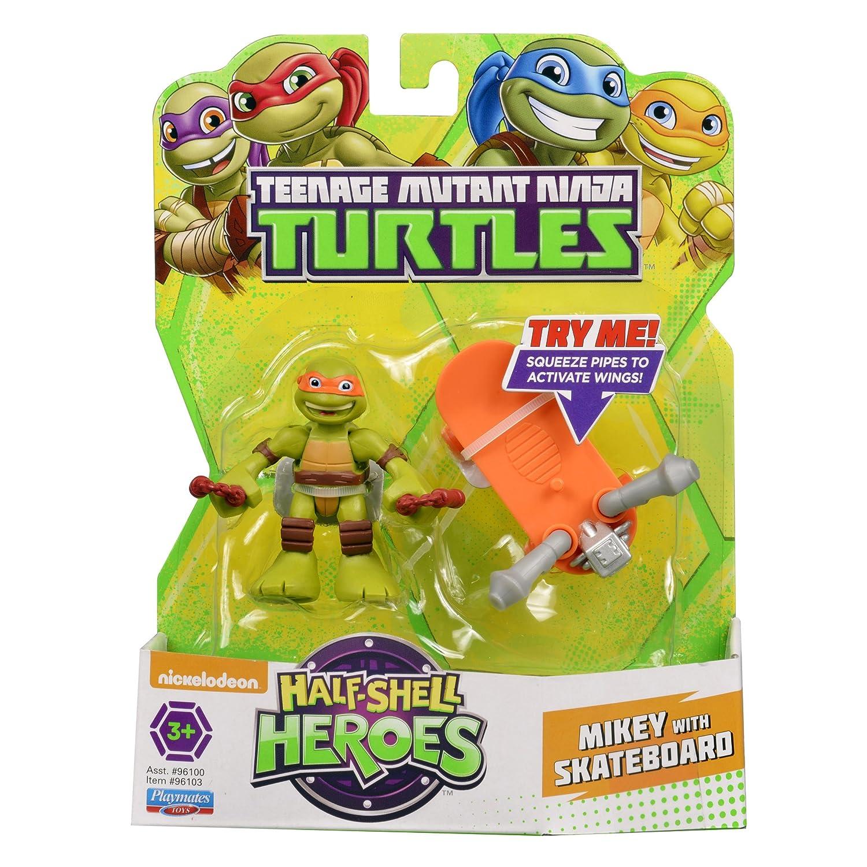 Teenage Mutant Ninja Turtles Pre-Cool Half Shell Heroes Michelangelo with Skateboard Figure Playmates Toys 96103