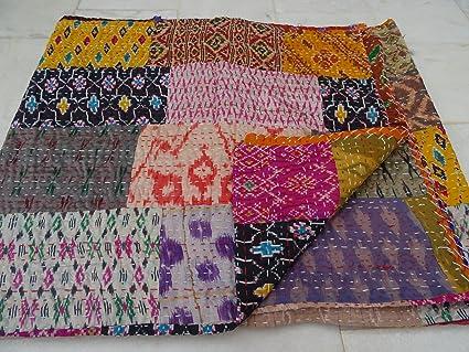 Indian Quilt ,Vintage Quilt Old Patola Indian Silk Sari Kantha Quilted  Patchwork Bedspread Bohemian Kantha Throws, Gudari Handmade