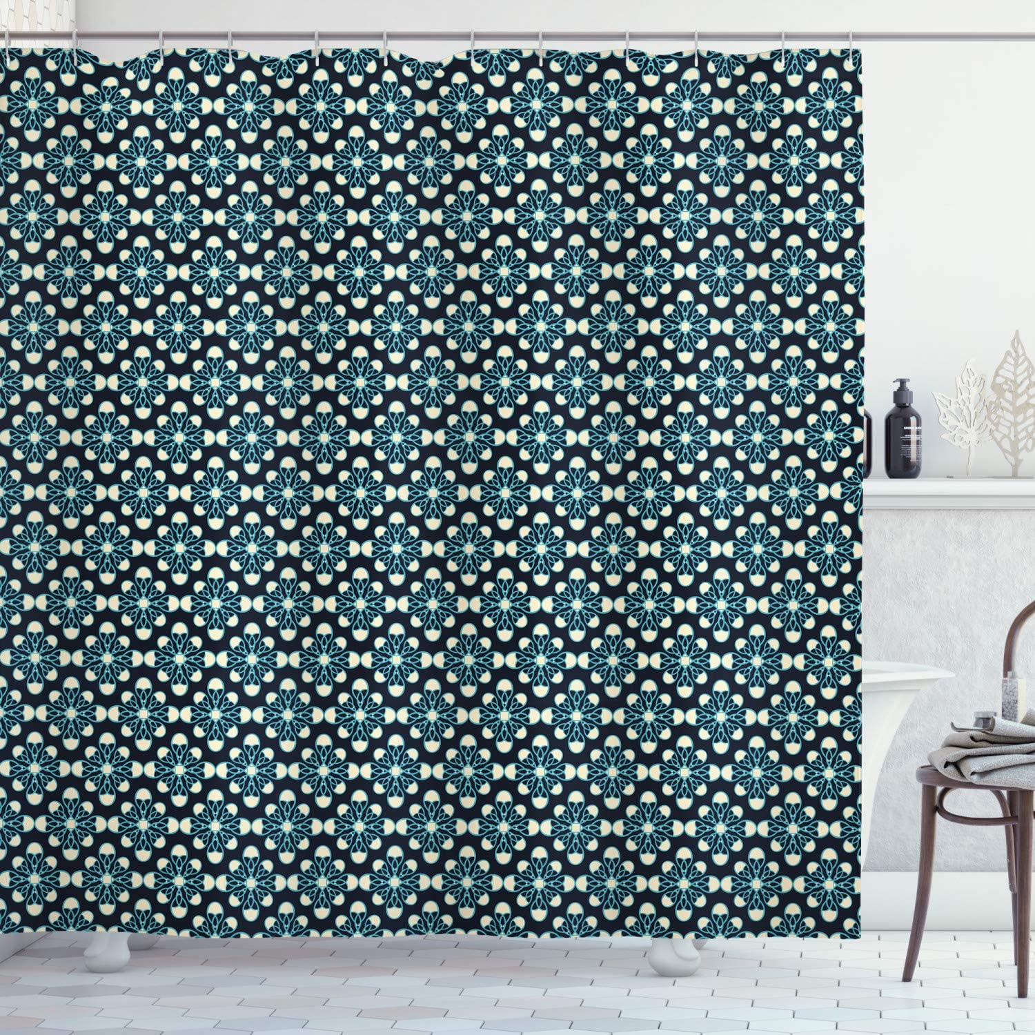"""Ambesonne Geometric Shower Curtain, Floral Pattern Dark Tones Plant Nature Inspired Blossoming Spring Flowers, Cloth Fabric Bathroom Decor Set with Hooks, 75"""" Long, Black Cream"""