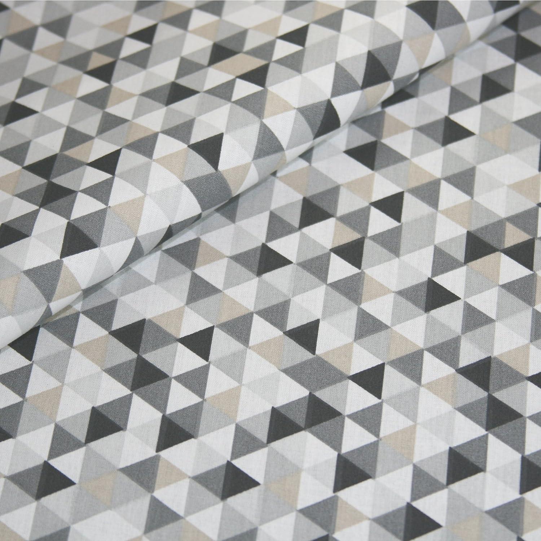 50cm STOFF BAUMWOLLE Dekostoff Dreieck geometrische Muster weiß 6,40 €//m