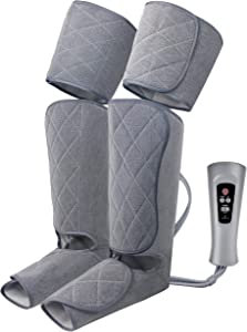 Oliver James Leg Massager for Circulation and Relaxation with Heat, Foot Calf Thigh Massage Air Compression with Handheld Controller, 5 Modes 4 Intensities, Relax and Relieve Muscle Pain