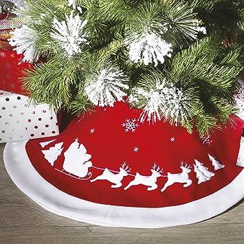 Alfombra para árbol de Navidad, diseño de trineo, fieltro: Amazon.es: Hogar