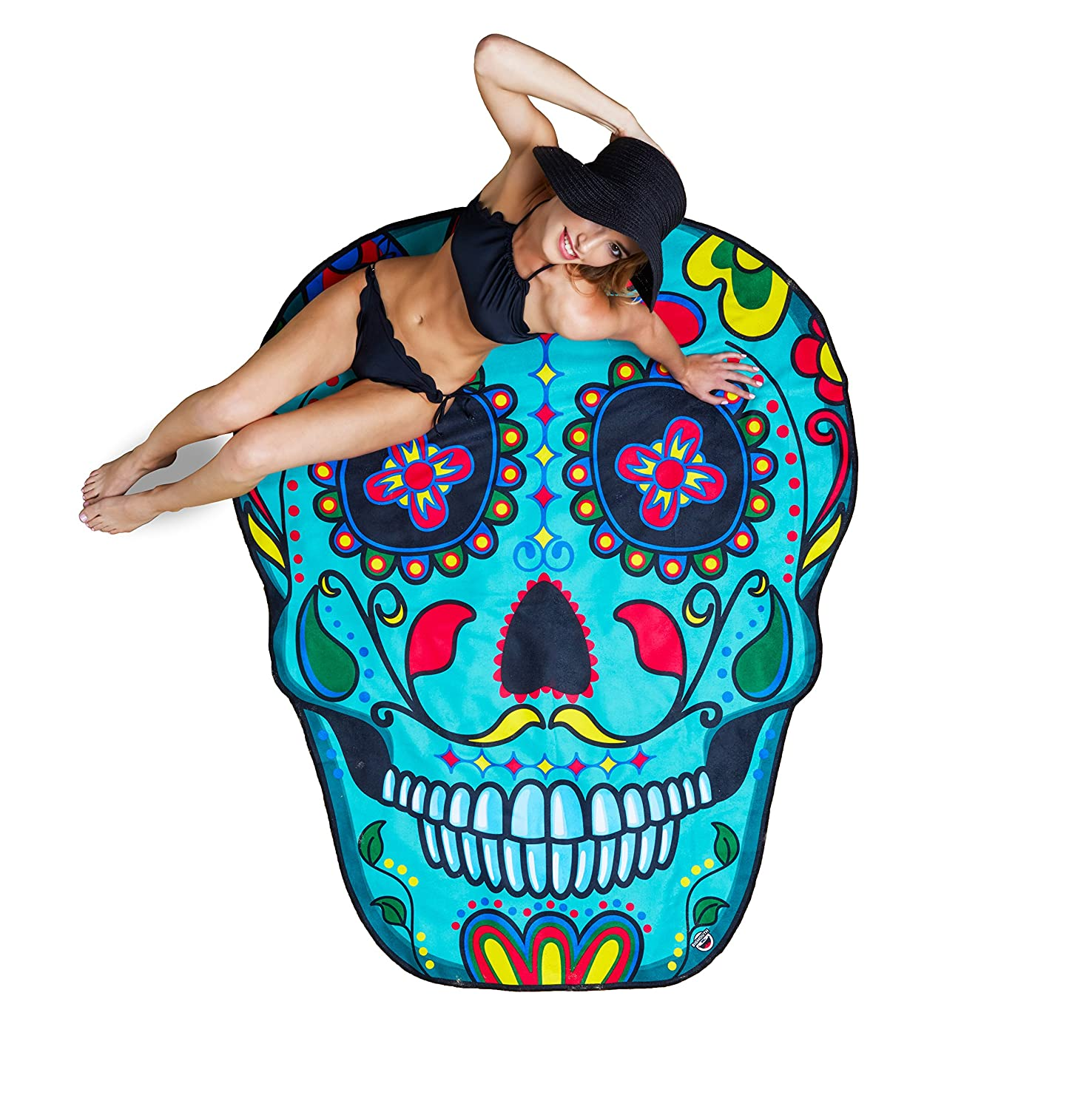 Amazon.com: BigMouth Inc Gigantic Sugar Skull Beach Blanket– Fun ...