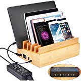 Avantree 100W 10 Ports New Macbook Bamboo USB Charging Station for Multiple Devices, Quick Charge 3.0 & Type C, Charger Organizer for Home Tablet, Phone [24M Warranty]