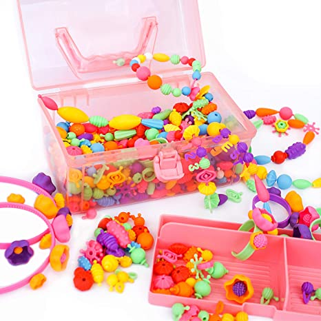 Amazon Com Pop Beads Jewelry Making Kit For Girls Age 3 4 5 6 7 8