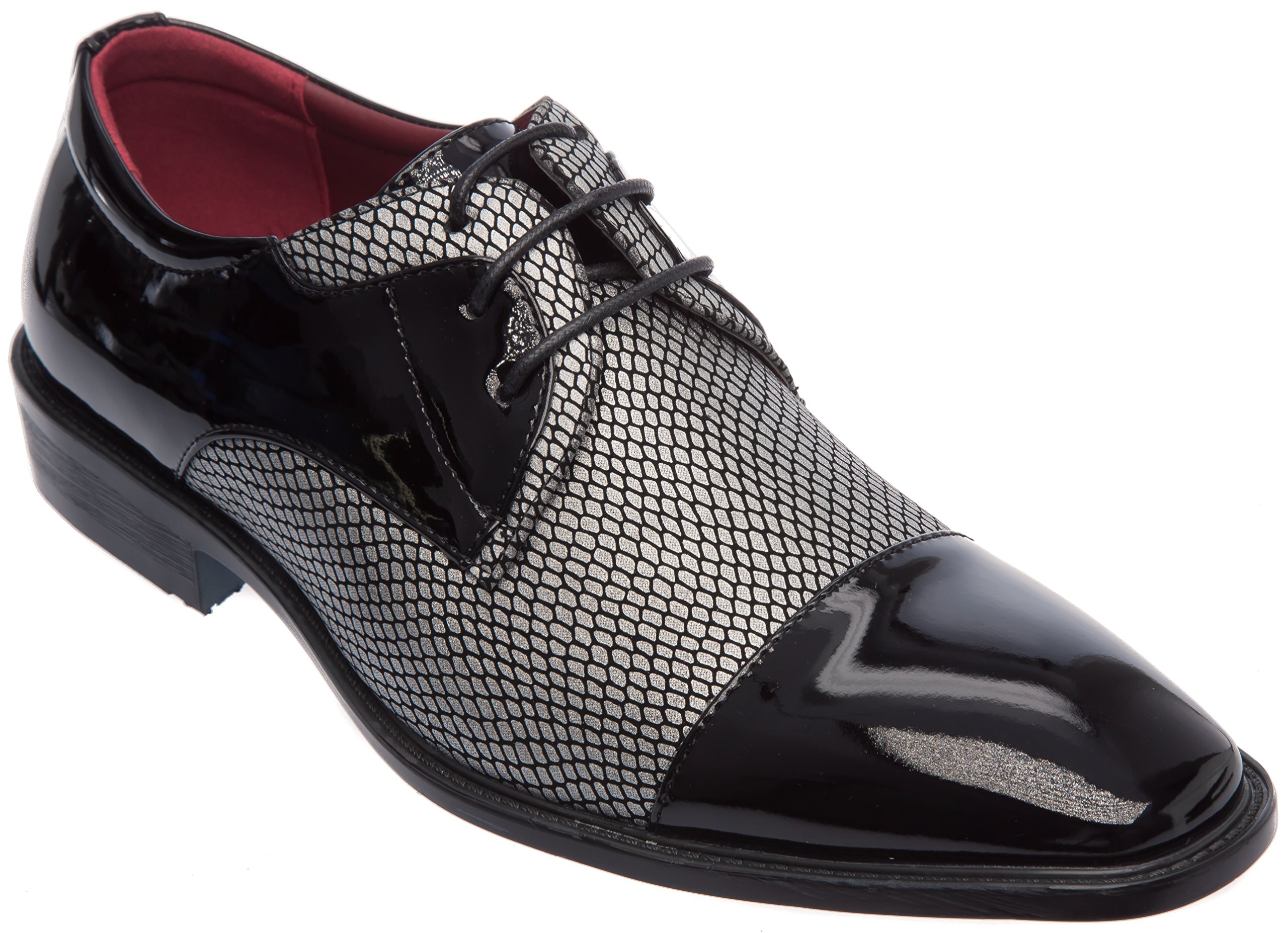 Alberto Fellini Mens Oxfords-Shoes Cap Toe Black Silver Patent Leather Size 9 Fashion Or Formal Business Dress