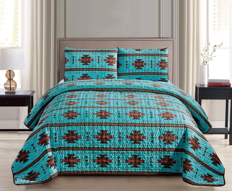 JABA Southwest Teal/Burgundy/Brown Print Bedspread 2 Piece Navajo/Native American Design Microfiber Cabin Lodge Quilt Set- Full Size Southwestern Bedding (Full)
