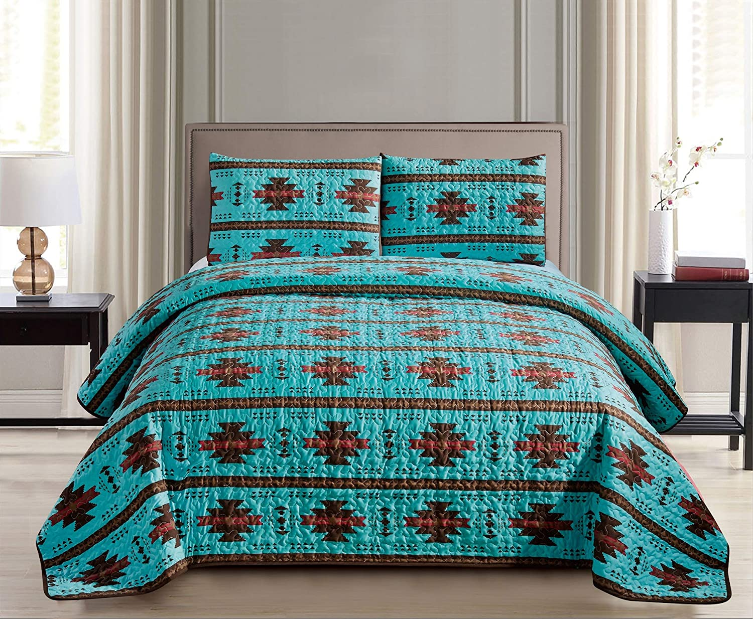 JABA Southwest Teal/Burgundy/Brown Print Bedspread 3 Piece Navajo/Native American Design Microfiber Cabin Lodge Quilt Set- Queen Size Southwestern Bedding (Queen)