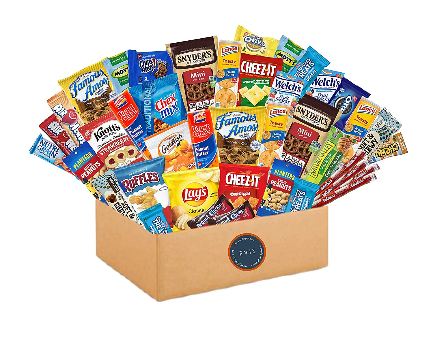 Variety Snack Pack (40 Count) Fathers Day Gift Basket for Dad Ultimate Care Package for College Students, Birthday Gift for Women, Men, Kids, Natural Bars, Nuts, Cookies, Chips, Fruit Snacks