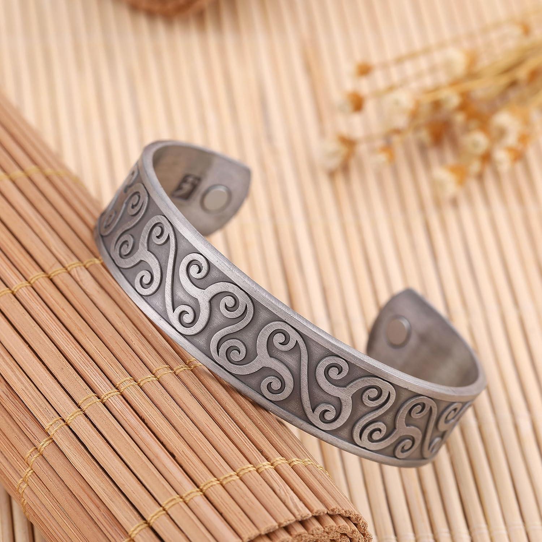EUEAVAN Magnetic Care Trisceli Talisman for Progress Cuff Bracelet for Easing Fatigue,Blood Circulation