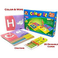 TANMAN TOYS Colour and Wipe Educational Game for Toddlers Preschool Kids - Activity Colouring & Learning Alphabets and Numbers Best Gift