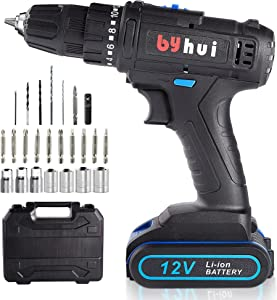 byhui Cordless Drill 12V MAX Drill Set Lithium Ion Cordless Power Hand Drill Kit with 3/8