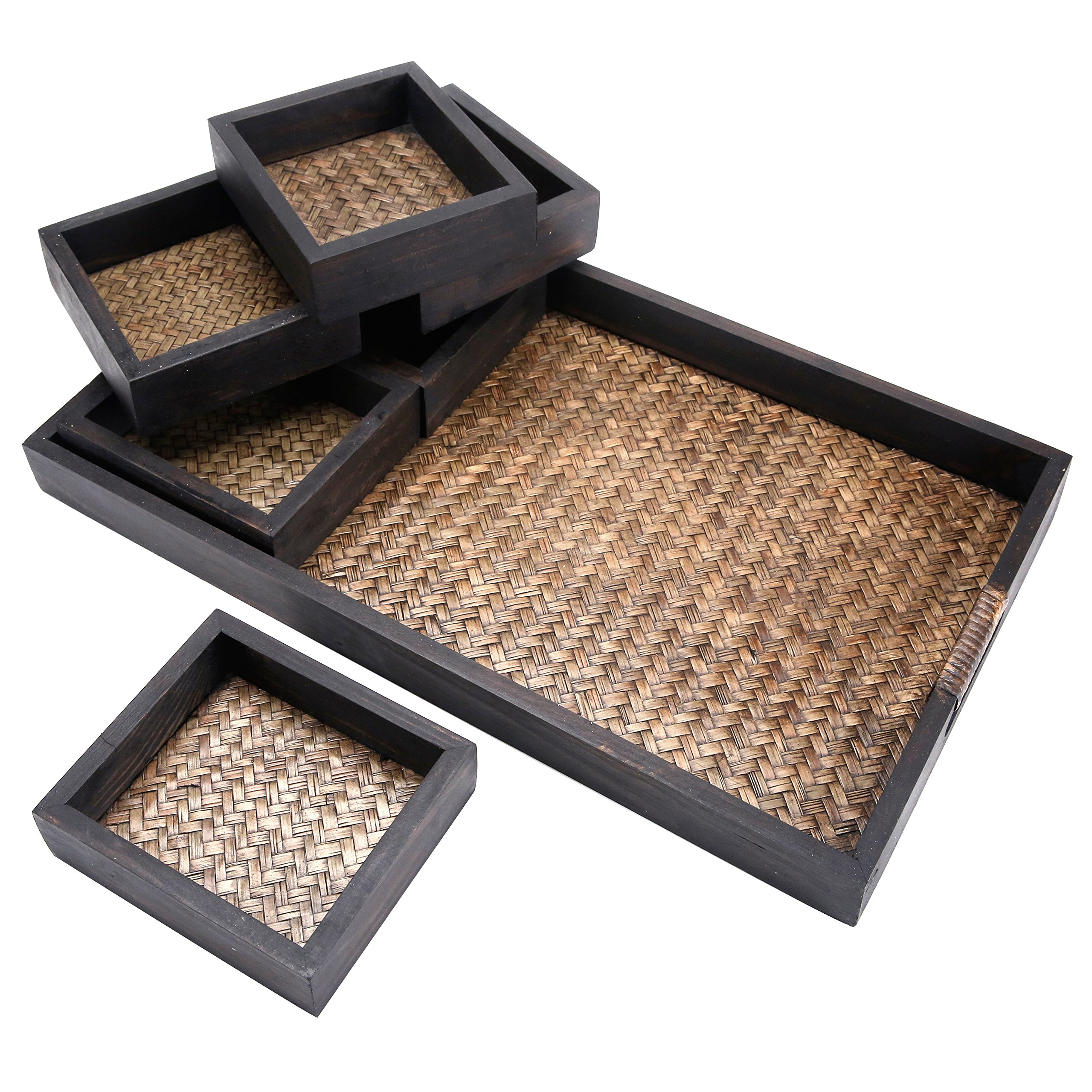 MyGift 7 Piece Flocked Nesting Mango Wood and Woven Rattan Jewelry Organizer Display Trays by MyGift (Image #2)