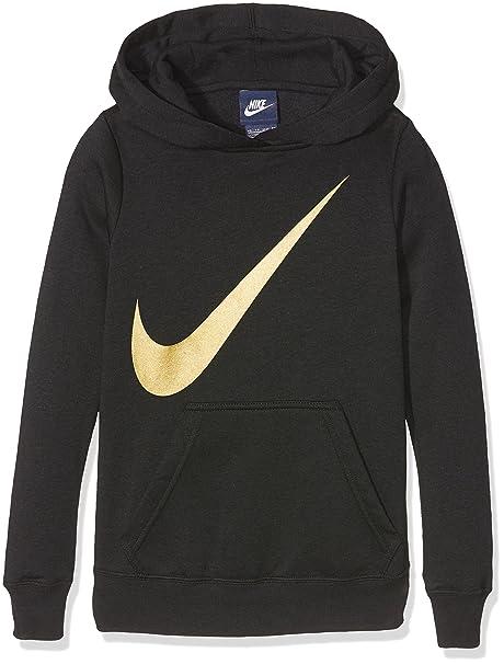 02566d6cc5d Amazon.com  NIKE Swoosh Little Girls Black   Gold Hoodie Sweatshirt ...
