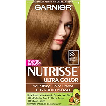 Amazon.com : Garnier Nutrisse Ultra Color Nourishing Permanent Hair Color Cream, B3 Golden Brown (1 Kit) Brown Hair Dye (Packaging May Vary) : Chemical Hair ...