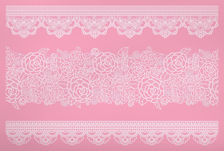 Kitchen Craft Sweetly Does It Mustermatte zum Verzieren von Torten, 40 x 27 cm, aus Silikon, Motiv Spitzenbordüre, Pink SDILACEMAT16