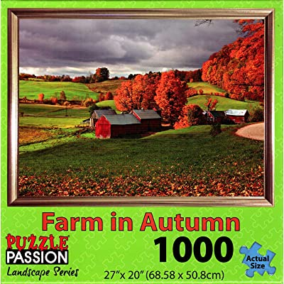Puzzle Passion - Farm in Autumn - 1000 Piece Jigsaw Puzzle: Toys & Games
