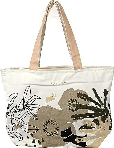 Radley - Bolsa de la compra grande de algodón con cremallera en la parte superior del desierto, diseño floral, color crema: Amazon.es: Zapatos y complementos