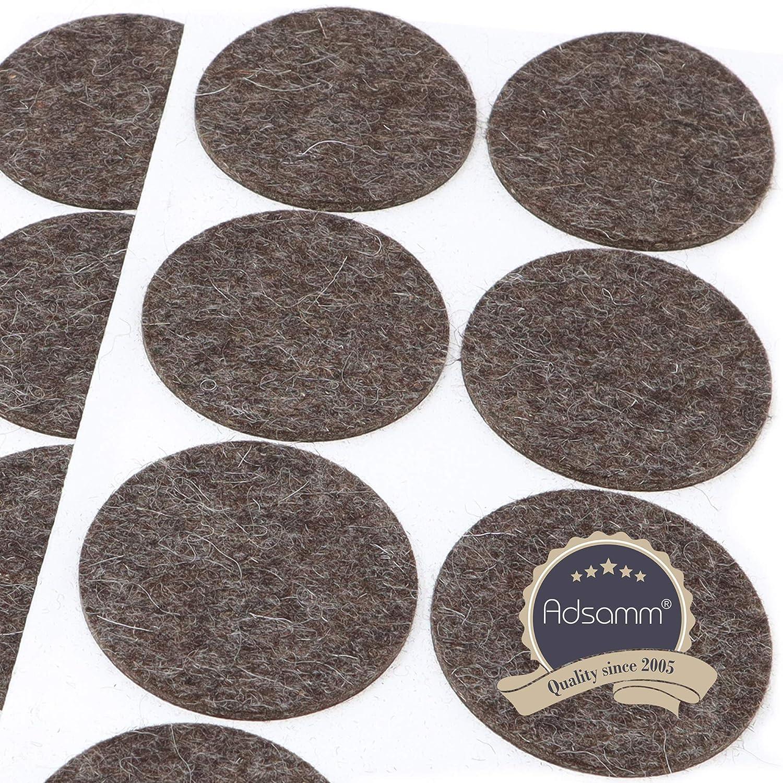 autoadhesivos 3 mm de grosor redondos 8 deslizadores de fieltro de lana de 60 mm de di/ámetro Adsamm/® color marr/ón de fieltro de lana
