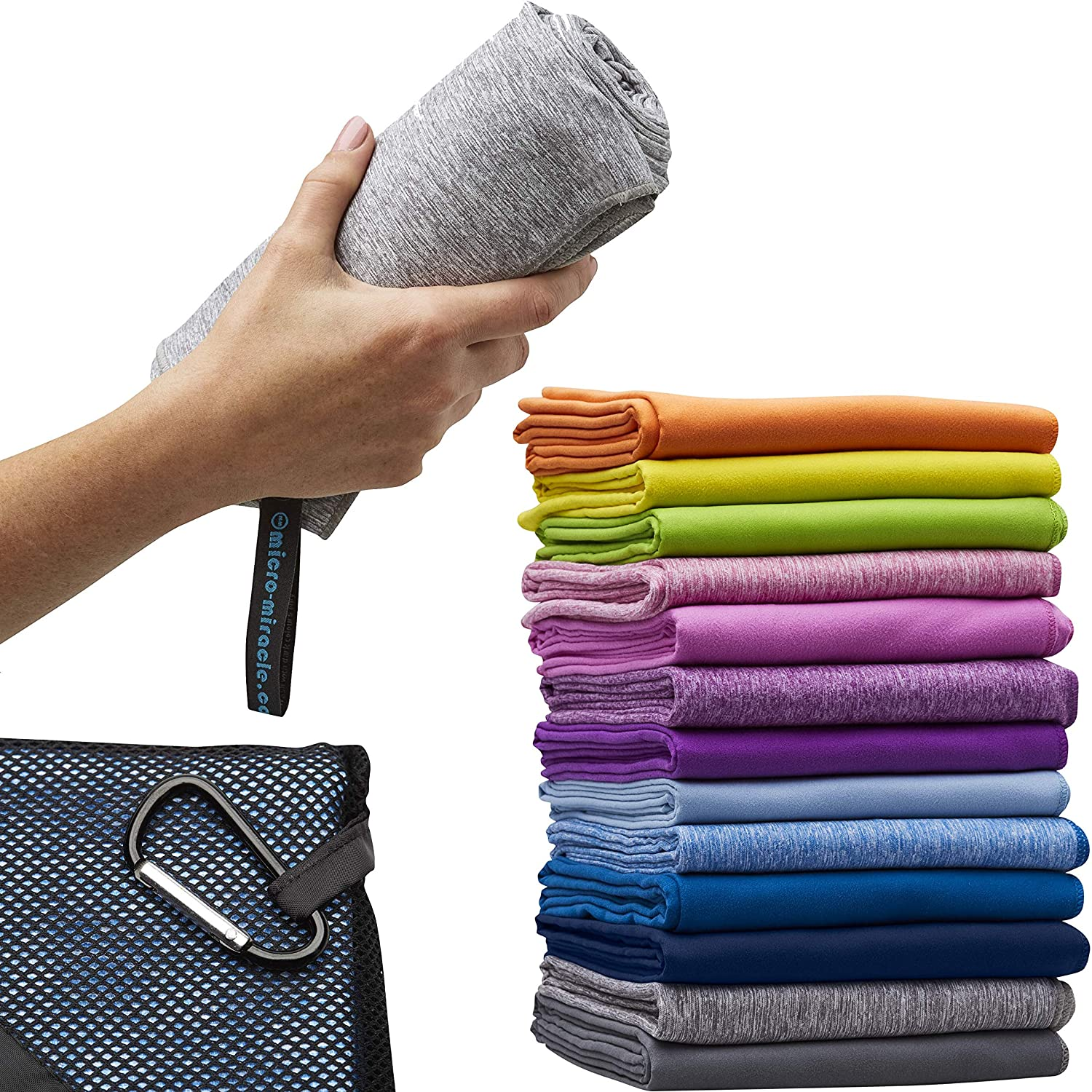 Grey Marle Microfiber Travel Towel XL 30x60  with FREE Hand Towel  Fast Drying, Compact, Soft, Light, Antibacterial. For Backpacking, Camping, Beach, Gym, Swimming. Gift Box and Carry Bag.