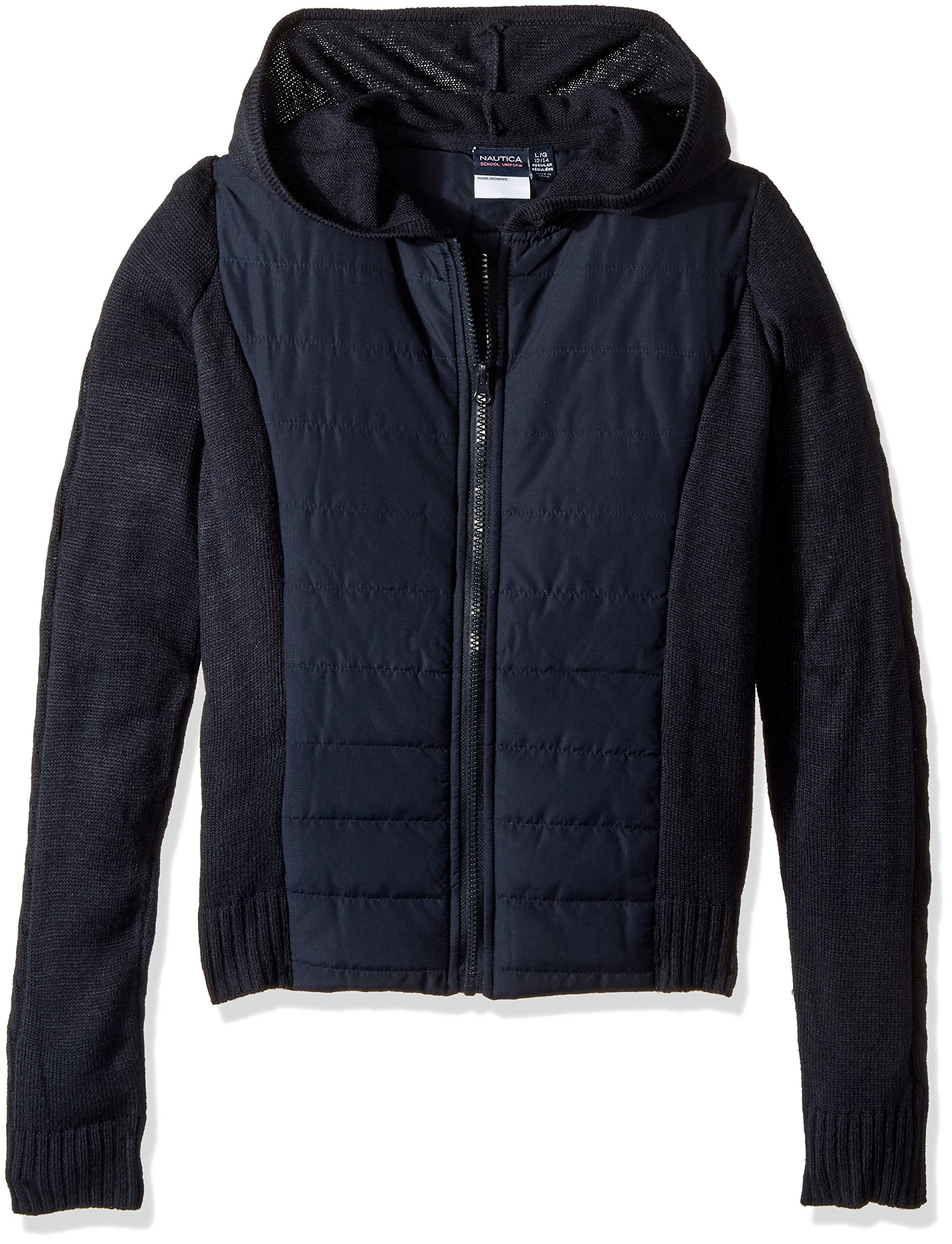 Nautica Girls Size' School Uniform Quilted Hoodie Sweater, Navy, X-Large(16.5/18.5) Plus by Nautica (Image #1)