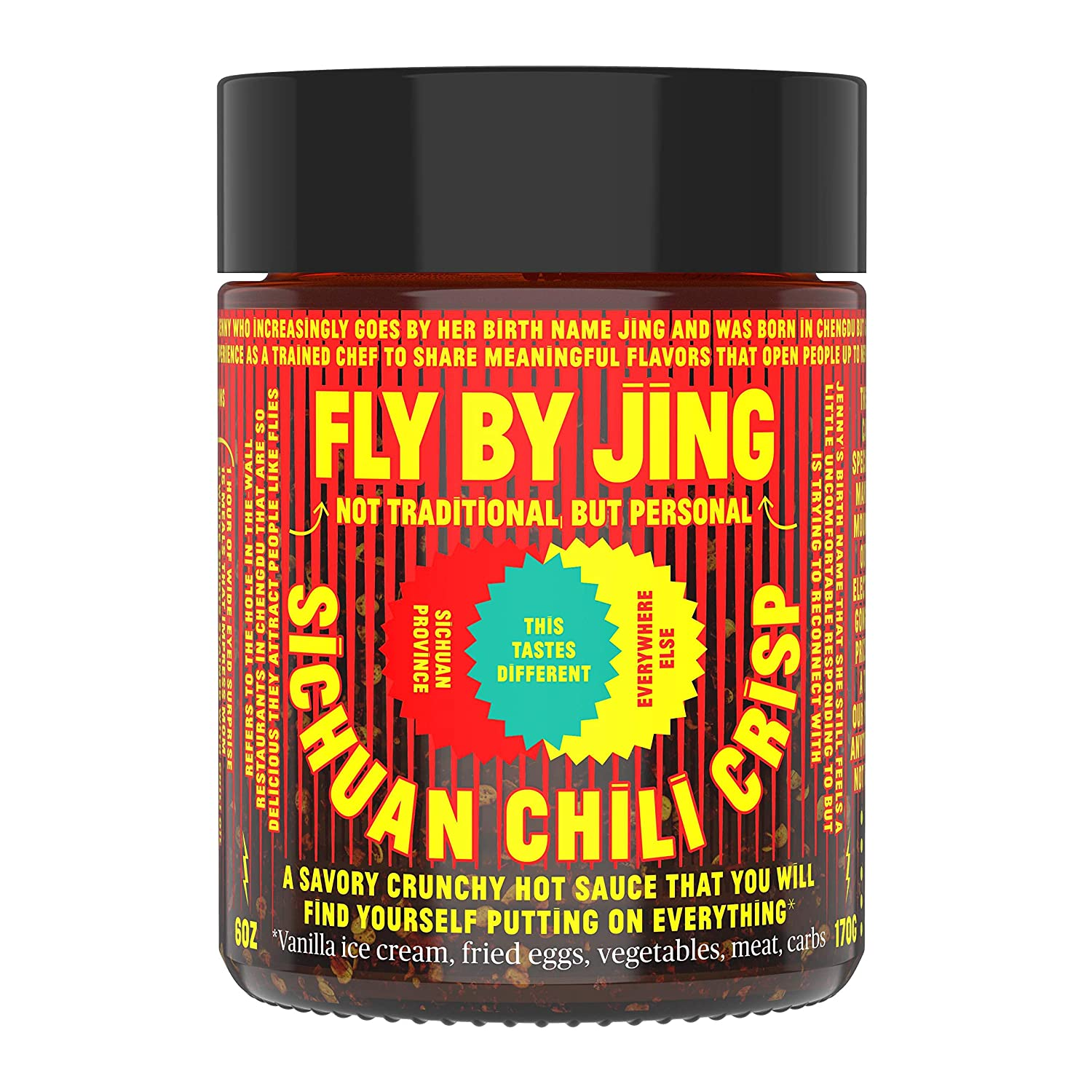 FLY BY JING Sichuan Chili Crisp, Deliciously Savory Umami Spicy Tingly Crispy Gourmet All Natural Vegan Gluten Free Hot Chili Oil Sauce with Sichuan Pepper, Good on Everything