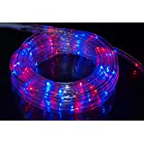 Izzy Creation 17.7FT Bi-Color Red and Blue LED Flexible Rope Light Kit, Indoor / Outdoor Lighting, Home, Garden, Patio, Shop Windows, 4th of July, Party, Event (17.7FT)
