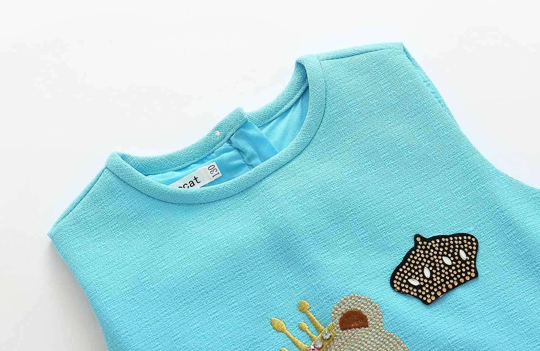 Kimocat Toddler Baby Girls Summer Sleeveless Cartoon Printed Dress